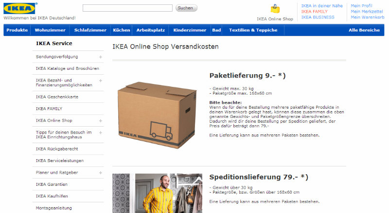 Übersicht Versandkosten bei Ikea