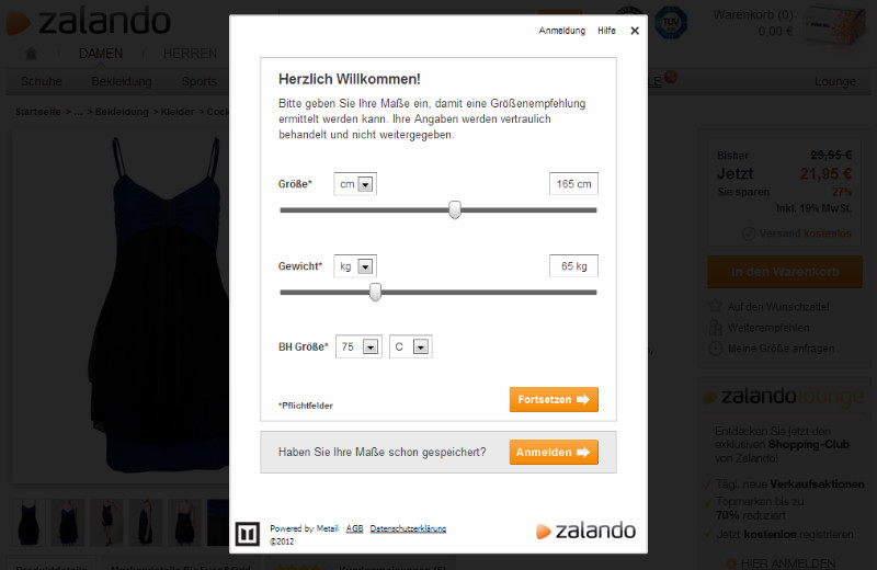 Maßeingabe Metail Virtual Fitting Room bei Zalando