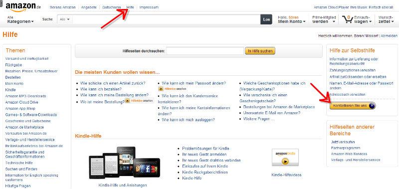 Amazon Hilfeseite mit Kontakt-Button