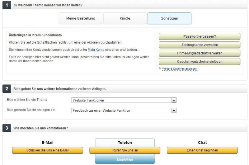 Amazon Kontaktseite mit Empfehlung