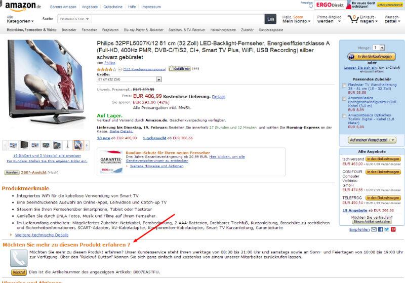 Produktberatung am Artikel bei Amazon